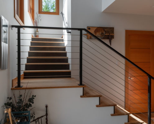 Delgado Architect Willow Renovation Open Stairs Metal Railing
